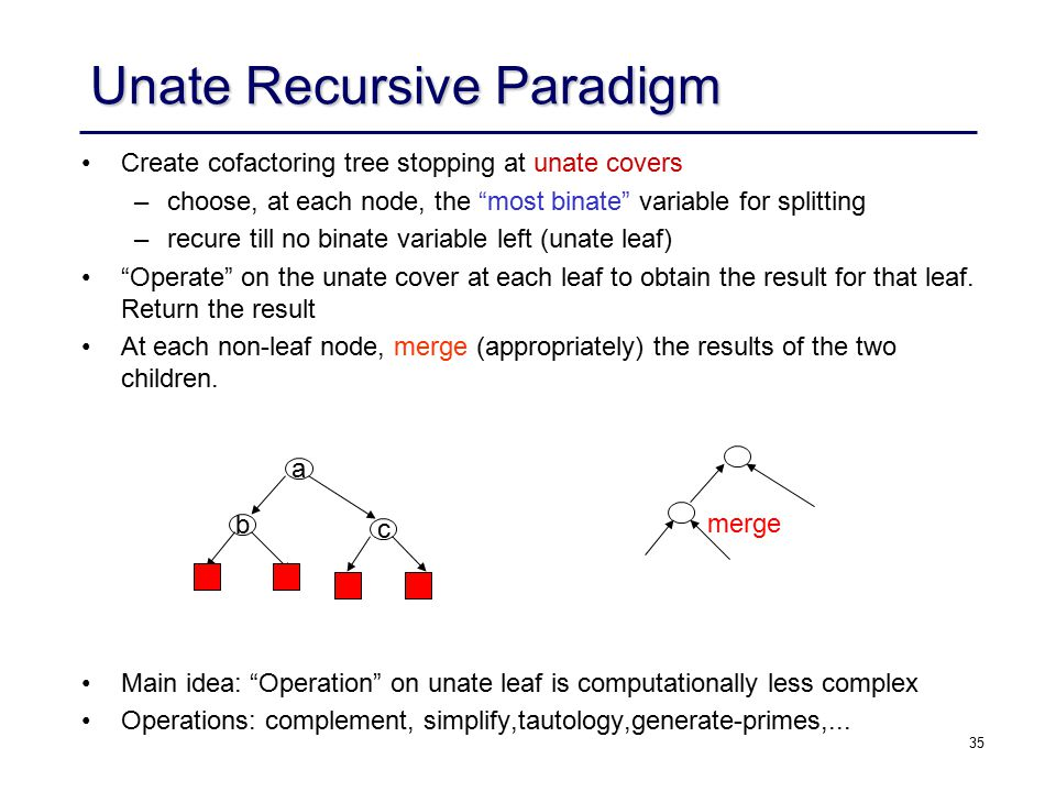 35 Unate Recursive Paradigm Create cofactoring tree stopping at unate covers – –choose, at each node, the most binate variable for splitting – –recure till no binate variable left (unate leaf) Operate on the unate cover at each leaf to obtain the result for that leaf.