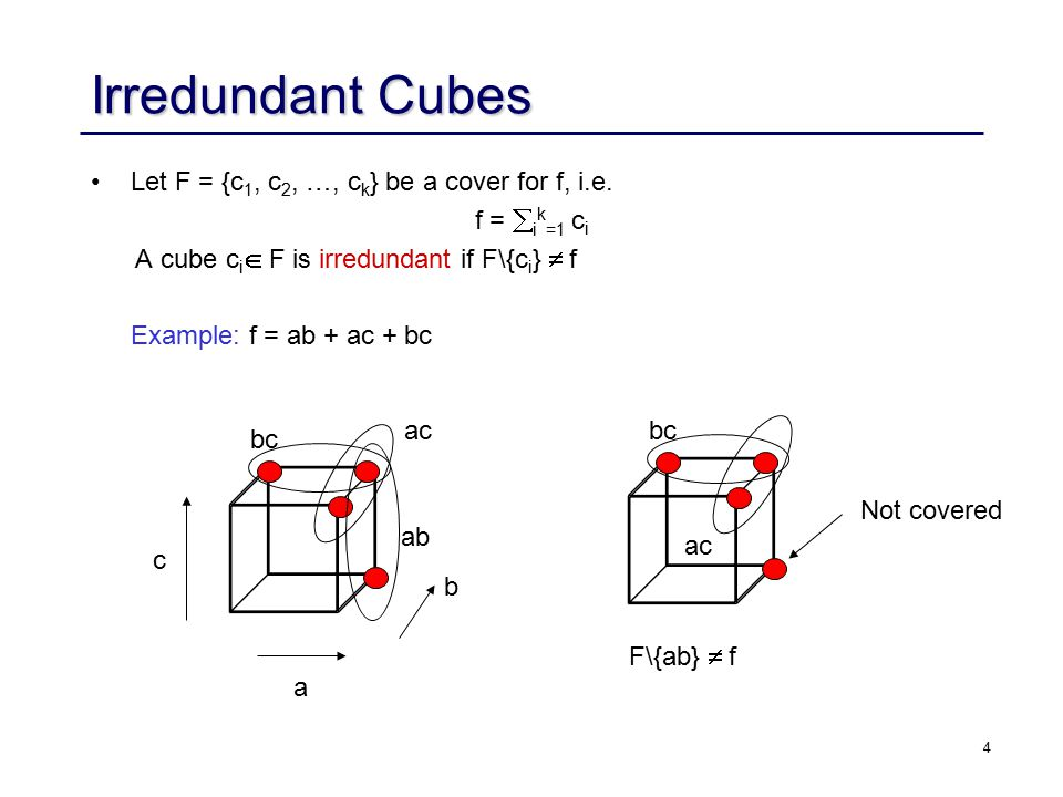 4 Irredundant Cubes Let F = {c 1, c 2, …, c k } be a cover for f, i.e.
