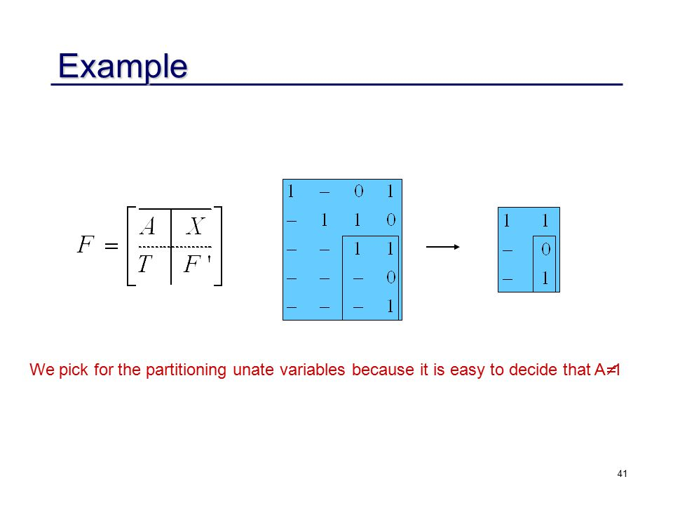 41 Example We pick for the partitioning unate variables because it is easy to decide that A  1