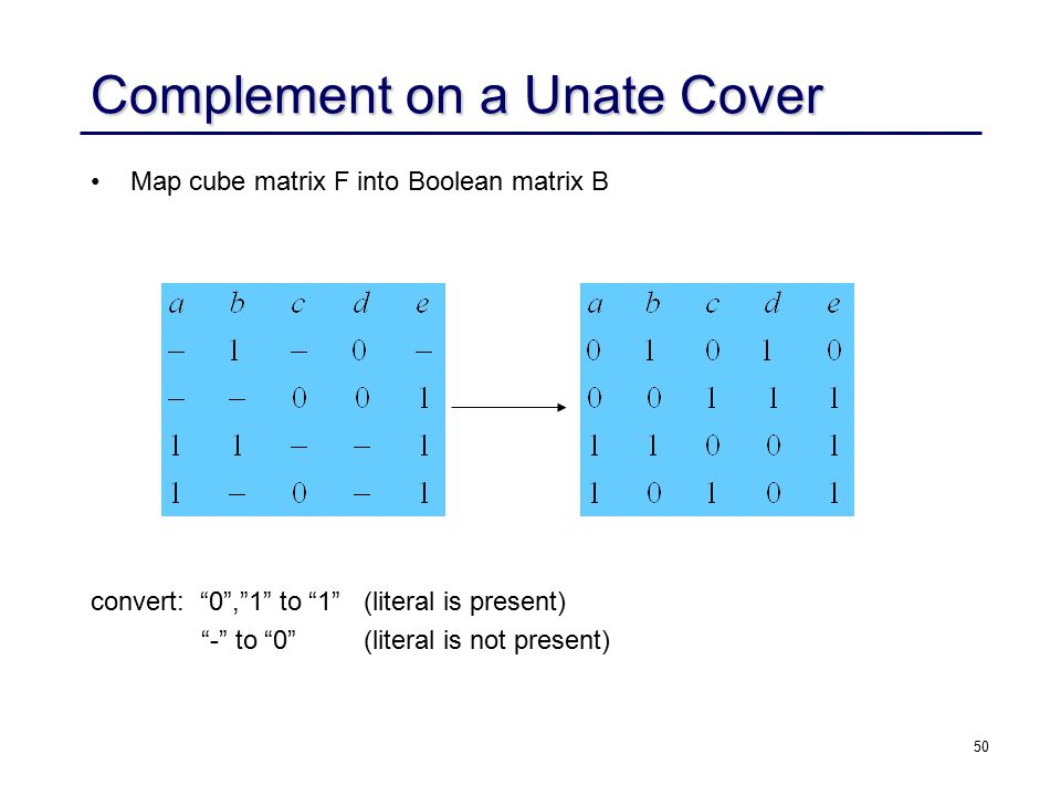 50 Complement on a Unate Cover Map cube matrix F into Boolean matrix B convert: 0 , 1 to 1 (literal is present) - to 0 (literal is not present)