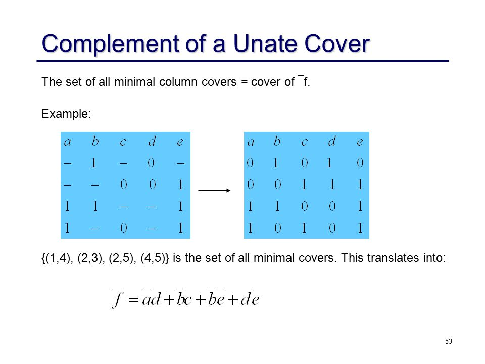 53 Complement of a Unate Cover The set of all minimal column covers = cover of  f.