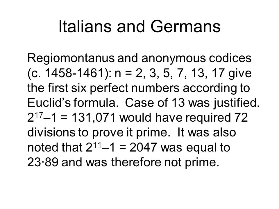 Italians and Germans Regiomontanus and anonymous codices (c.