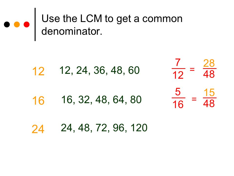 Use the LCM to get a common denominator. 12 12, 24, 36, 48, 60 16, 32, 48, 64, 80 16 24 24, 48, 72, 96, 120 7 12 5 16 48 = = 28 15