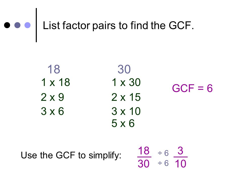 List factor pairs to find the GCF. 1830 1 x 18 2 x 9 3 x 6 1 x 30 2 x 15 3 x 10 5 x 6 Use the GCF to simplify: 18 30 ÷ 6 GCF = 6 3 10