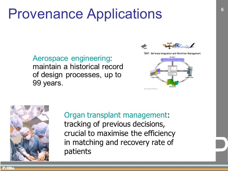 PrIMe 6 Provenance Applications Aerospace engineering: maintain a historical record of design processes, up to 99 years.