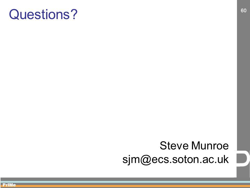 PrIMe 60 Questions Steve Munroe sjm@ecs.soton.ac.uk