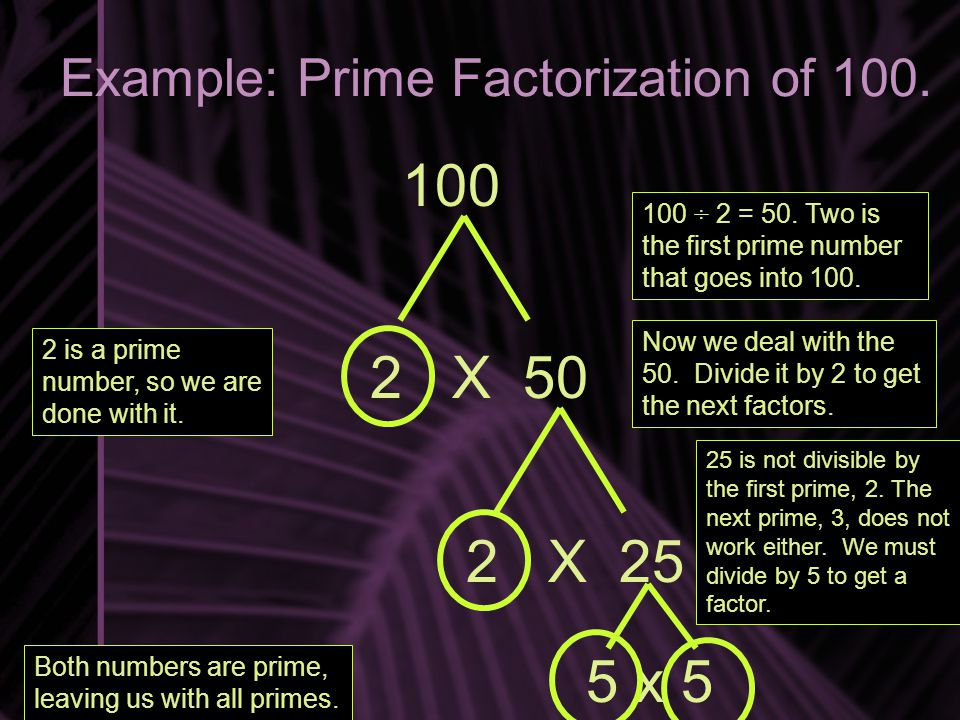 Example: Prime Factorization of 100. 100 2 X 50 100 ÷ 2 = 50. Two is the first prime number that goes into 100. 2 is a prime number, so we are done wi