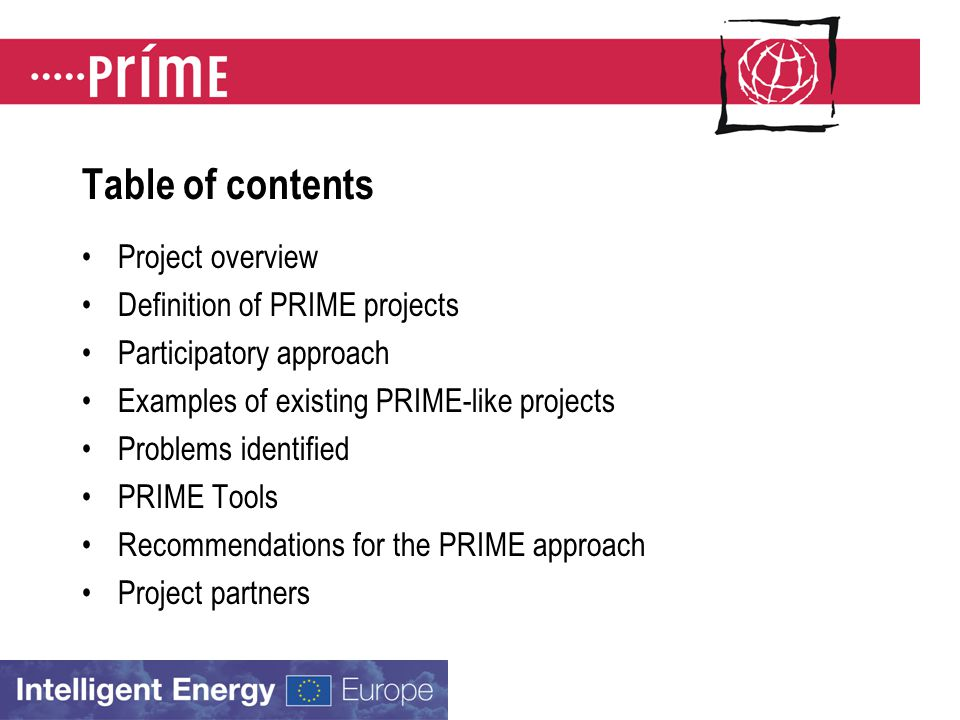 Table of contents Project overview Definition of PRIME projects Participatory approach Examples of existing PRIME-like projects Problems identified PRIME Tools Recommendations for the PRIME approach Project partners