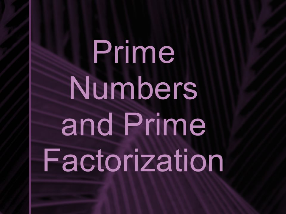 Prime Numbers and Prime Factorization