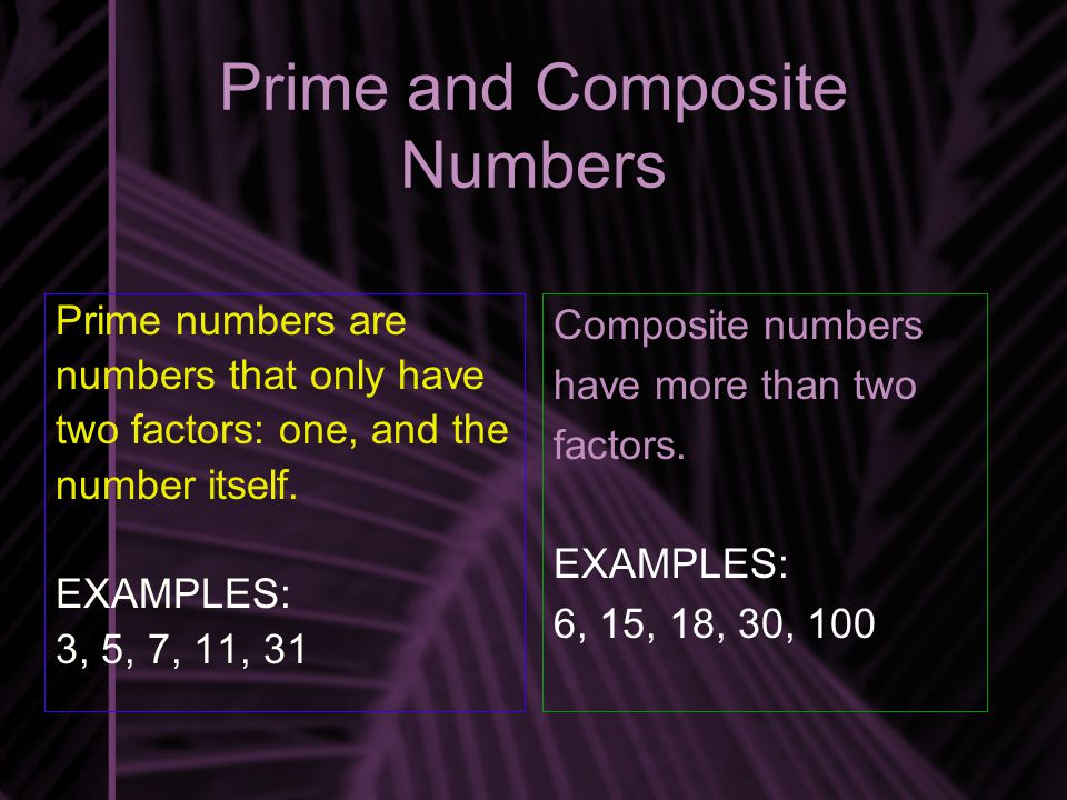 Prime and Composite Numbers Prime numbers are numbers that only have two factors: one, and the number itself.