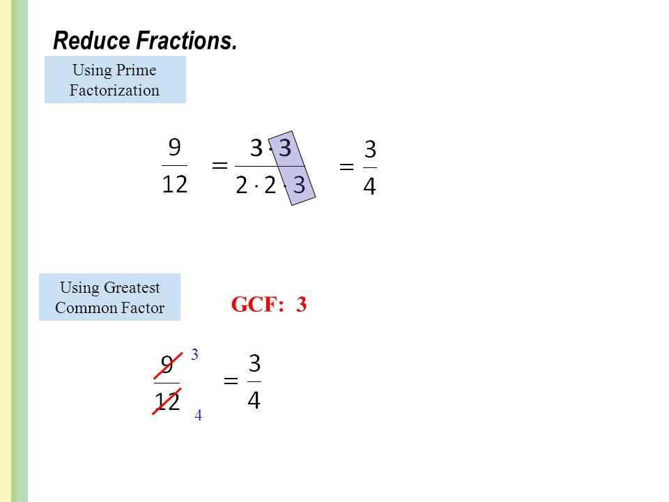Reduce Fractions. Using Prime Factorization Using Greatest Common Factor GCF: 3 3 4