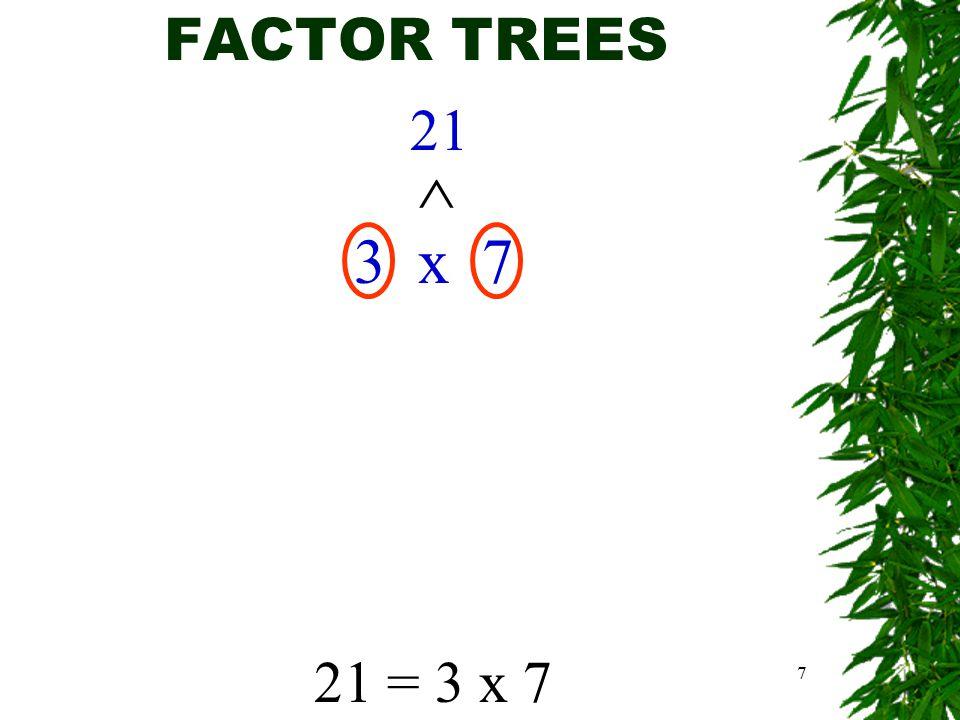 7 FACTOR TREES 21 3 x 7 ^ 21 = 3 x 7