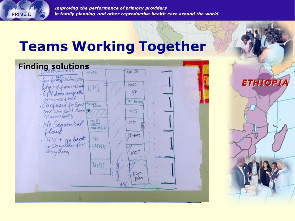 Improving the performance of primary providers in family planning and other reproductive health care around the world ETHIOPIA Teams Working Together Discussion and consensus building Finding solutions
