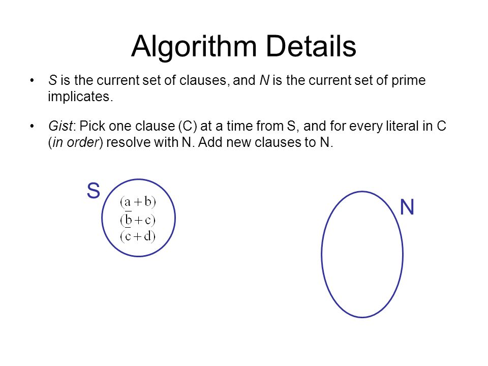 Algorithm Details S is the current set of clauses, and N is the current set of prime implicates.