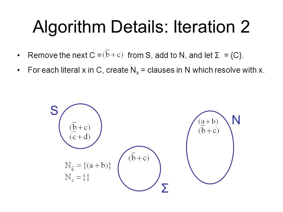 Algorithm Details: Iteration 2 S N Remove the next C = from S, add to N, and let Σ = {C}. For each literal x in C, create N x = clauses in N which res