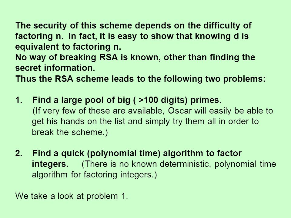 The security of this scheme depends on the difficulty of factoring n. In fact, it is easy to show that knowing d is equivalent to factoring n. No way