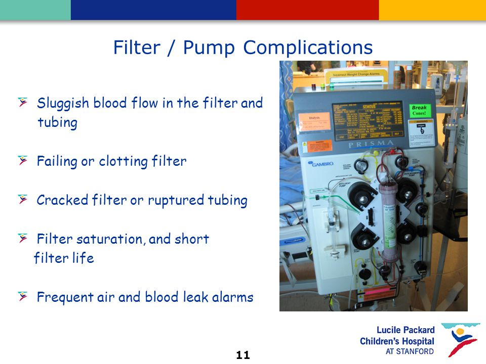 11 Filter / Pump Complications Sluggish blood flow in the filter and tubing Failing or clotting filter Cracked filter or ruptured tubing Filter saturation, and short filter life Frequent air and blood leak alarms