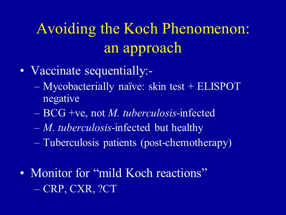 Avoiding the Koch Phenomenon: an approach Vaccinate sequentially:- –Mycobacterially naïve: skin test + ELISPOT negative –BCG +ve, not M.