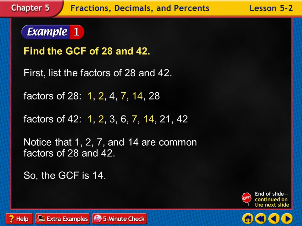 Lesson 2 Contents Example 1Find the GCF by Listing Factors Example 2Find the GCF Using Prime Factors Example 3Find the GCF Using Prime Factors Example 4Find the GCF of an Algebraic Expression Example 5Use the GCF to Solve a Problem