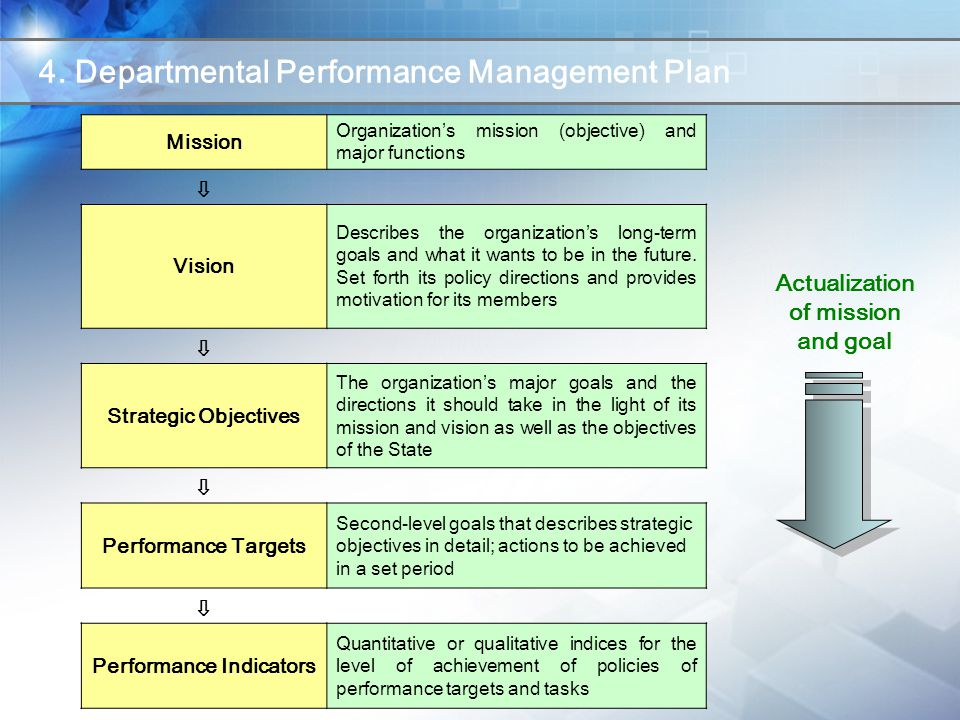 Mission Organization's mission (objective) and major functions ⇩ Vision Describes the organization's long-term goals and what it wants to be in the future.