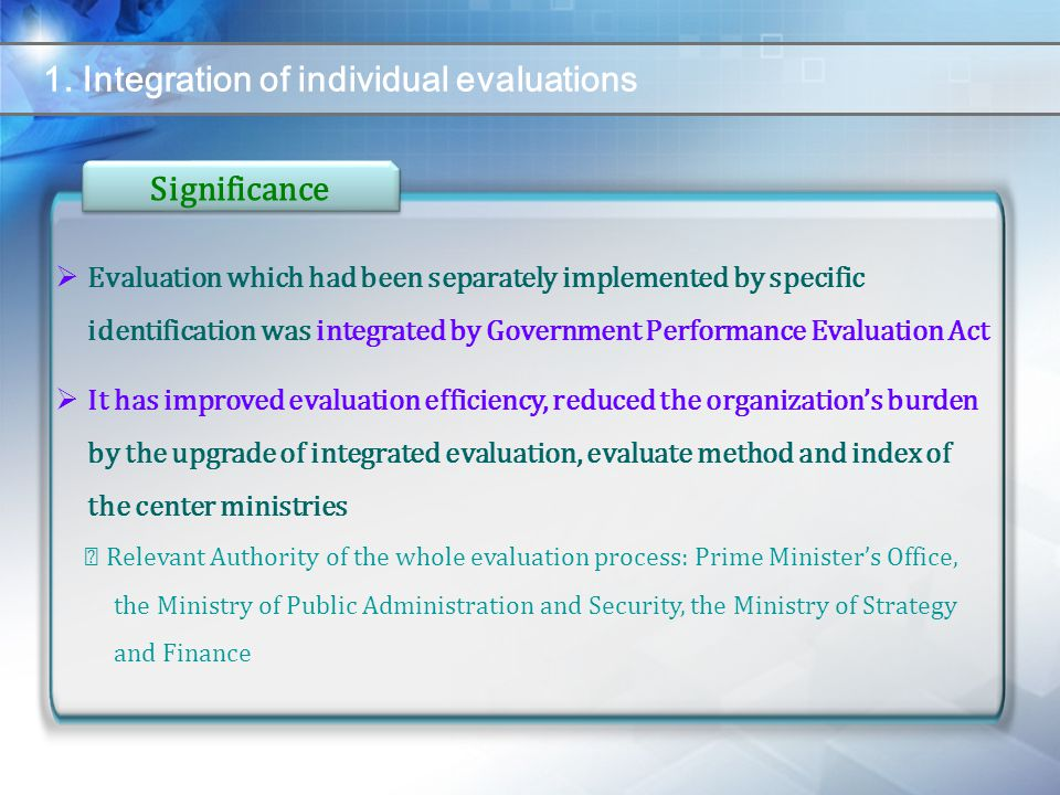 1. Integration of individual evaluations  Evaluation which had been separately implemented by specific identification was integrated by Government Pe