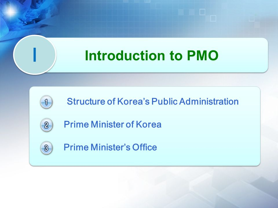 Ⅰ Ⅰ Introduction to PMO Structure of Korea's Public Administration Prime Minister of Korea Prime Minister's Office