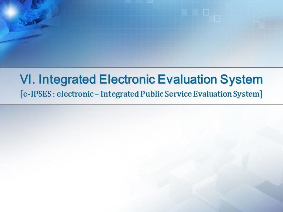 Ⅵ. Integrated Electronic Evaluation System [e-IPSES : electronic – Integrated Public Service Evaluation System]