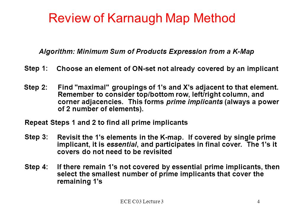 ECE C03 Lecture 34 Review of Karnaugh Map Method Algorithm: Minimum Sum of Products Expression from a K-Map Step 1: Choose an element of ON-set not already covered by an implicant Step 2:Find maximal groupings of 1 s and X s adjacent to that element.