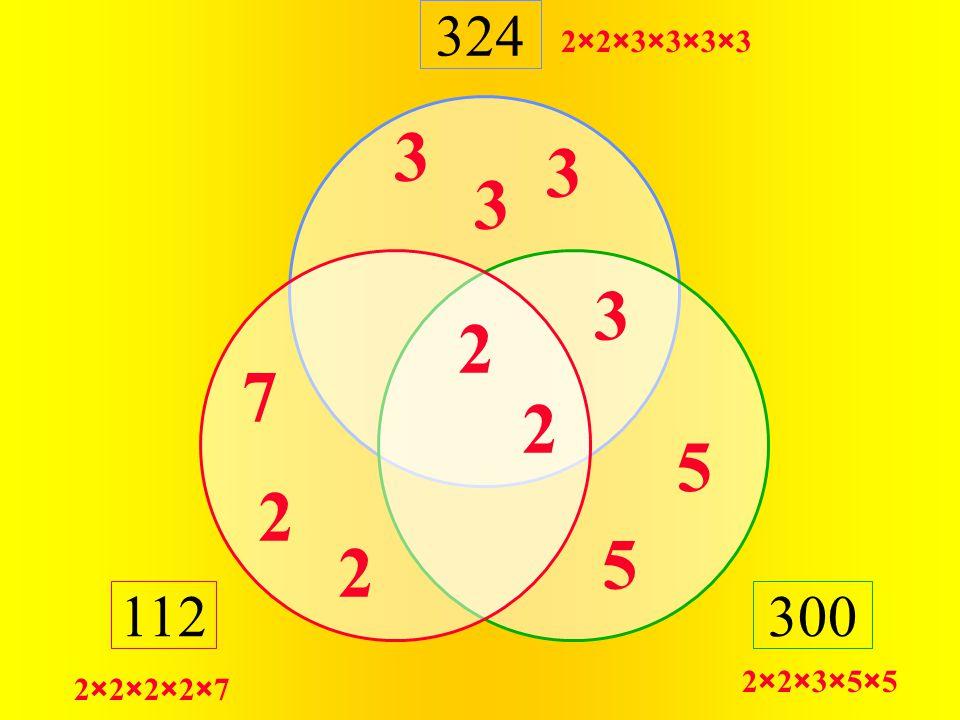 324 300112 2×2×3×5×5 2×2×3×3×3×3 2×2×2×2×7 7 2 2 2 2 3 3 3 3 5 5