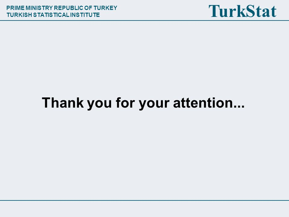 PRIME MINISTRY REPUBLIC OF TURKEY TURKISH STATISTICAL INSTITUTE TurkStat Thank you for your attention...
