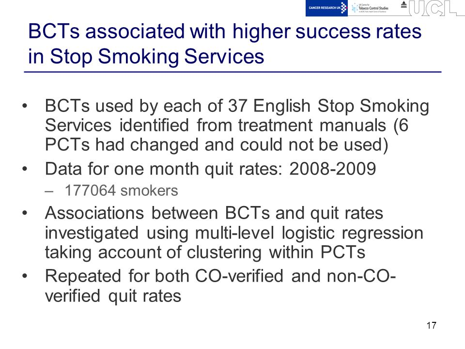 17 BCTs associated with higher success rates in Stop Smoking Services BCTs used by each of 37 English Stop Smoking Services identified from treatment manuals (6 PCTs had changed and could not be used) Data for one month quit rates: 2008-2009 –177064 smokers Associations between BCTs and quit rates investigated using multi-level logistic regression taking account of clustering within PCTs Repeated for both CO-verified and non-CO- verified quit rates