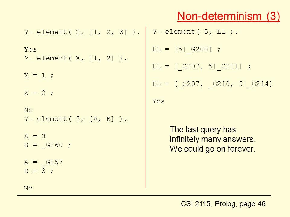 CSI 2115, Prolog, page 46 Non-determinism (3) - element( 2, [1, 2, 3] ).
