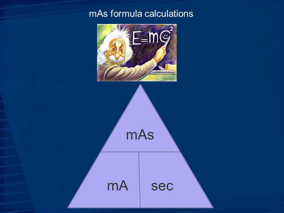 mAs formula calculations mAs mA sec