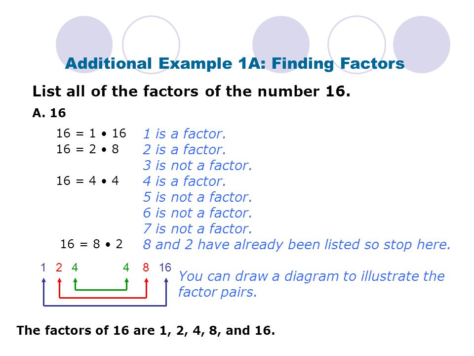 Additional Example 1B: Finding Factors List all of the factors of the number 19.