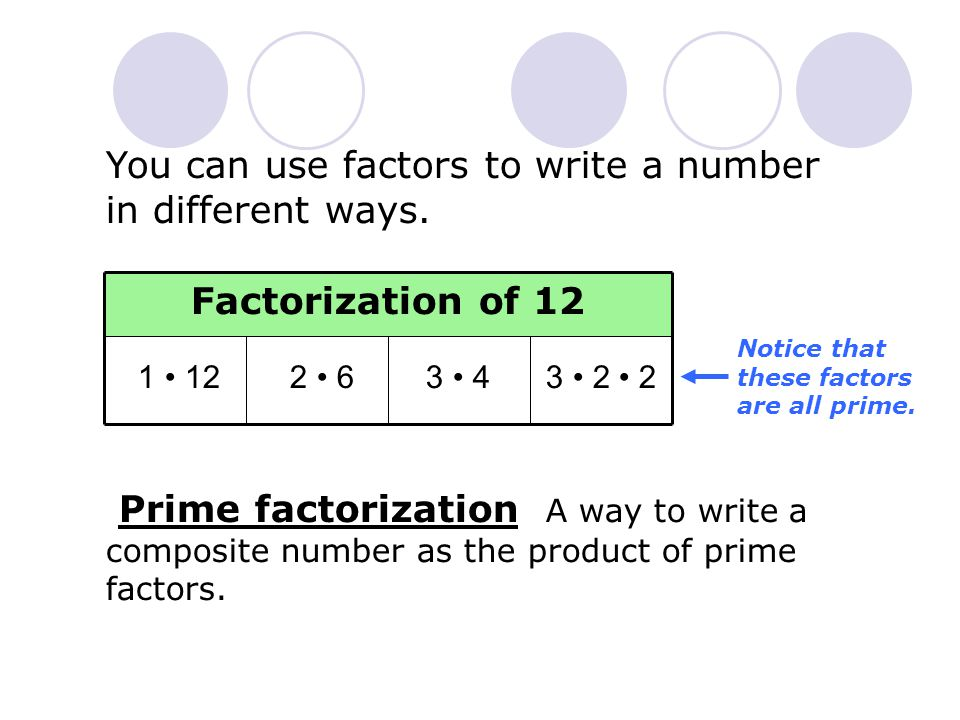 Additional Example 2A: Writing Prime Factorizations Method 1: Use a factor tree.