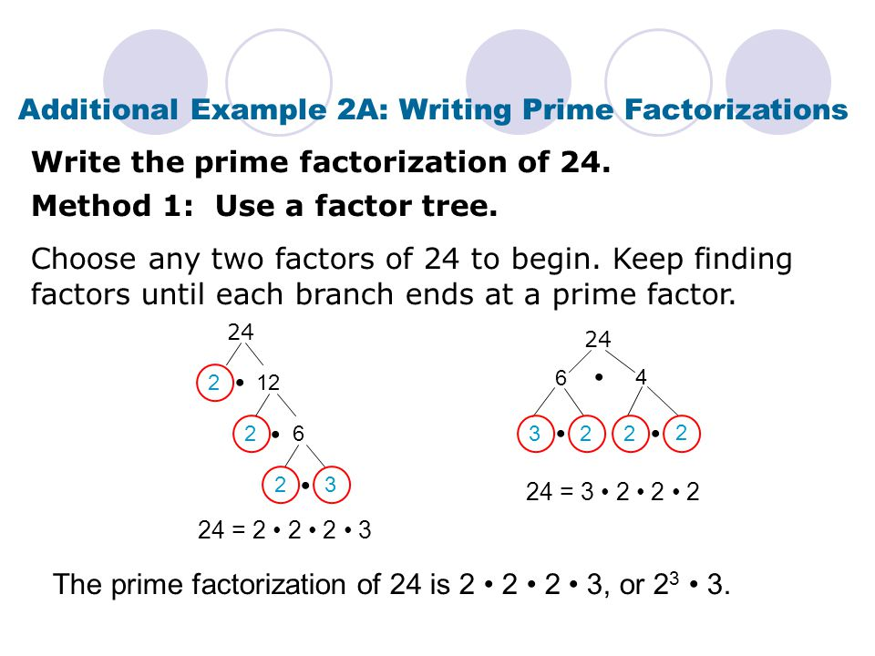 Check It Out: Example 2A Write the prime factorization of 28.