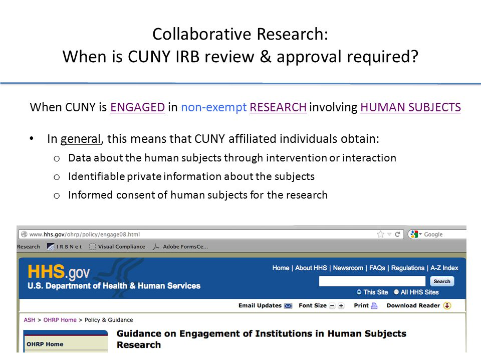 Collaborative Research: When is CUNY IRB review & approval required.