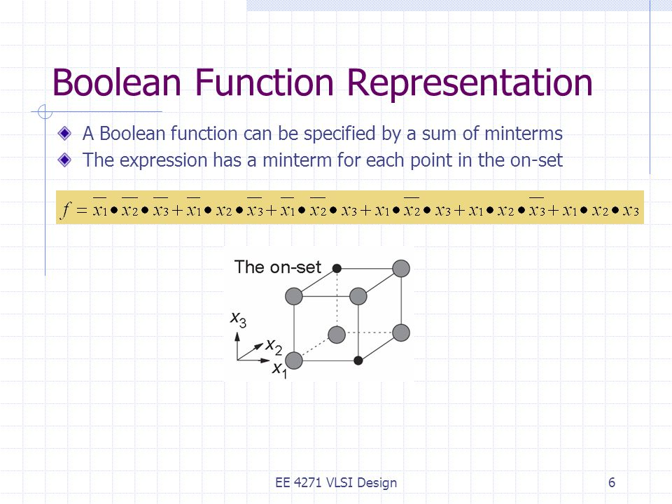 Boolean Function Representation A Boolean function can be specified by a sum of minterms The expression has a minterm for each point in the on-set EE 4271 VLSI Design6