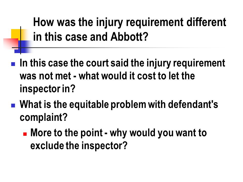 How was the injury requirement different in this case and Abbott.