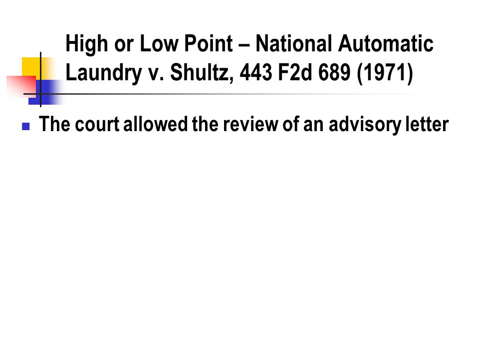 High or Low Point – National Automatic Laundry v.