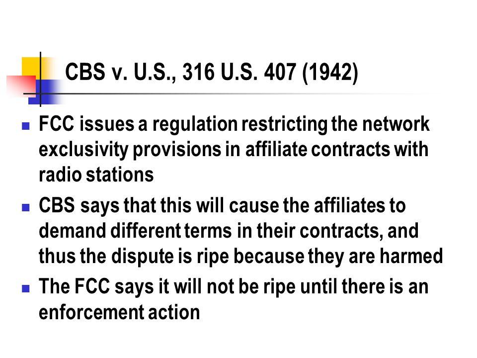 CBS v. U.S., 316 U.S.