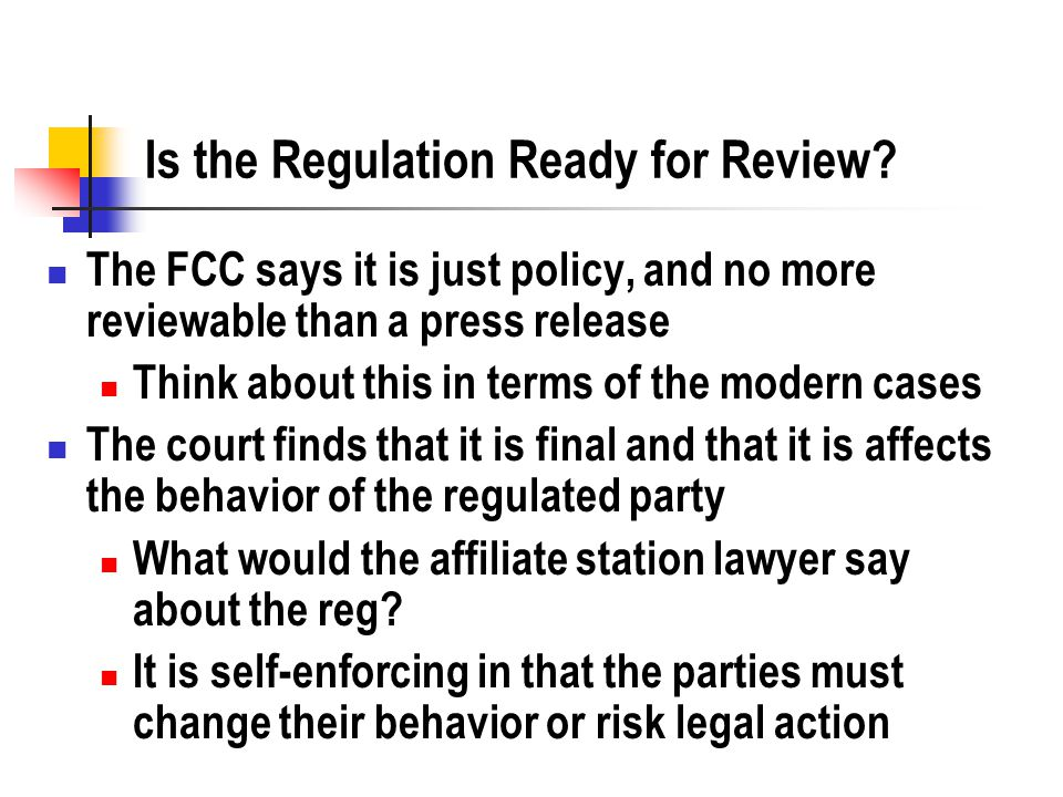 Is the Regulation Ready for Review.