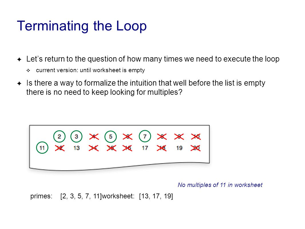 Terminating the Loop ✦ Let's return to the question of how many times we need to execute the loop ❖ current version: until worksheet is empty ✦ Is there a way to formalize the intuition that well before the list is empty there is no need to keep looking for multiples.