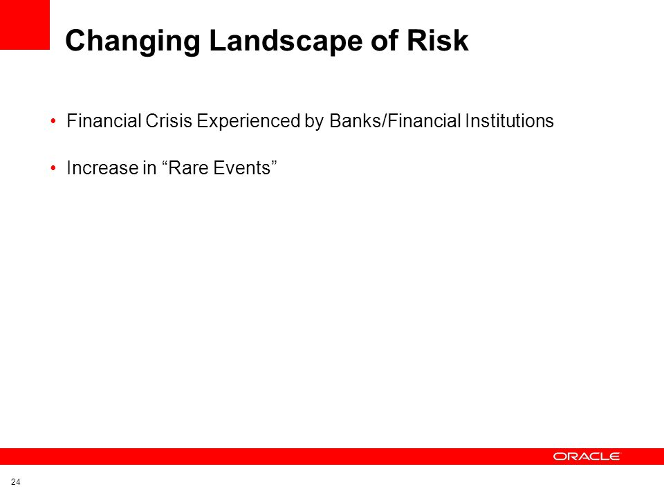 "24 Changing Landscape of Risk Financial Crisis Experienced by Banks/Financial Institutions Increase in ""Rare Events"""