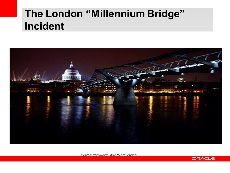 "The London ""Millennium Bridge"" Incident Source: http://www.urban75.org/london/"