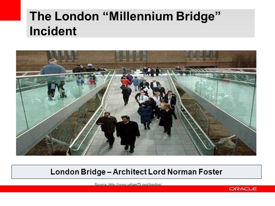 "The London ""Millennium Bridge"" Incident London Bridge – Architect Lord Norman Foster Source: http://www.urban75.org/london/"