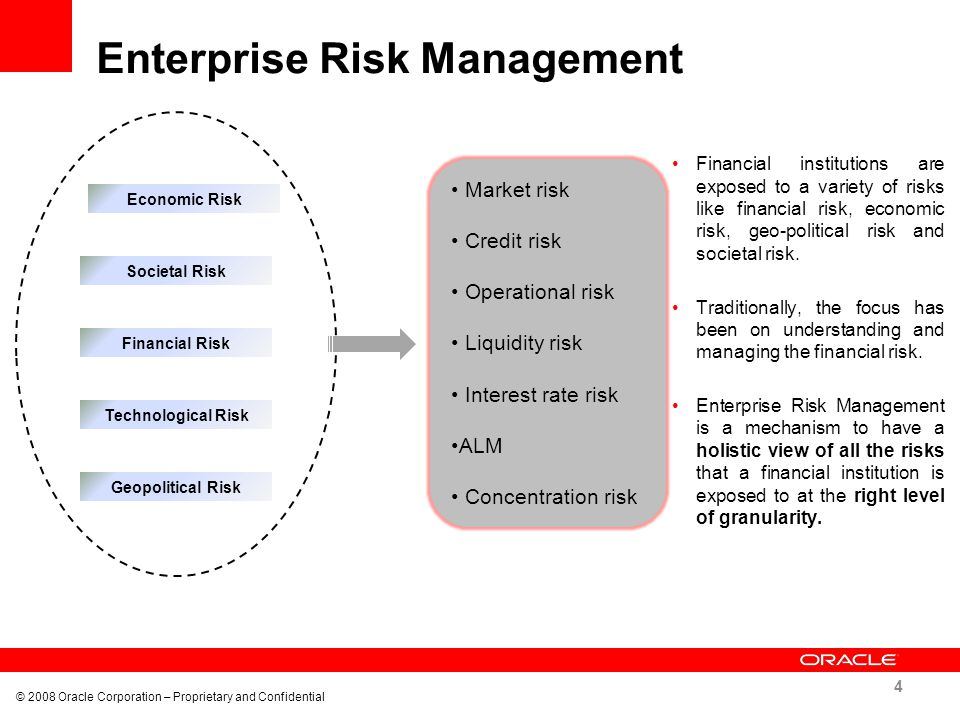 Enterprise Risk Management © 2008 Oracle Corporation – Proprietary and Confidential 4 Financial institutions are exposed to a variety of risks like fi