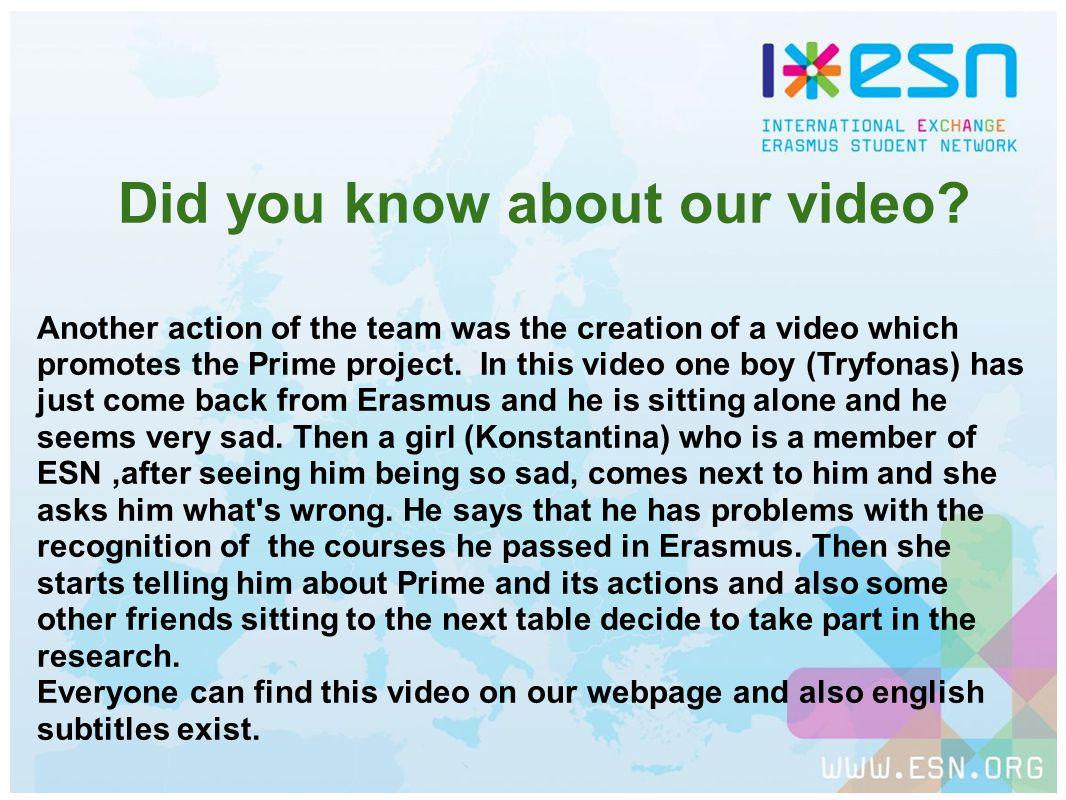 Did you know about our video.