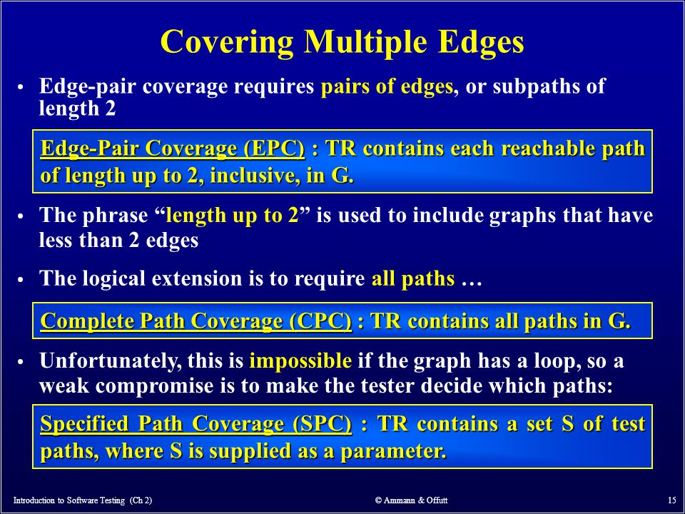 Introduction to Software Testing (Ch 2) © Ammann & Offutt 15 Covering Multiple Edges Edge-pair coverage requires pairs of edges, or subpaths of length