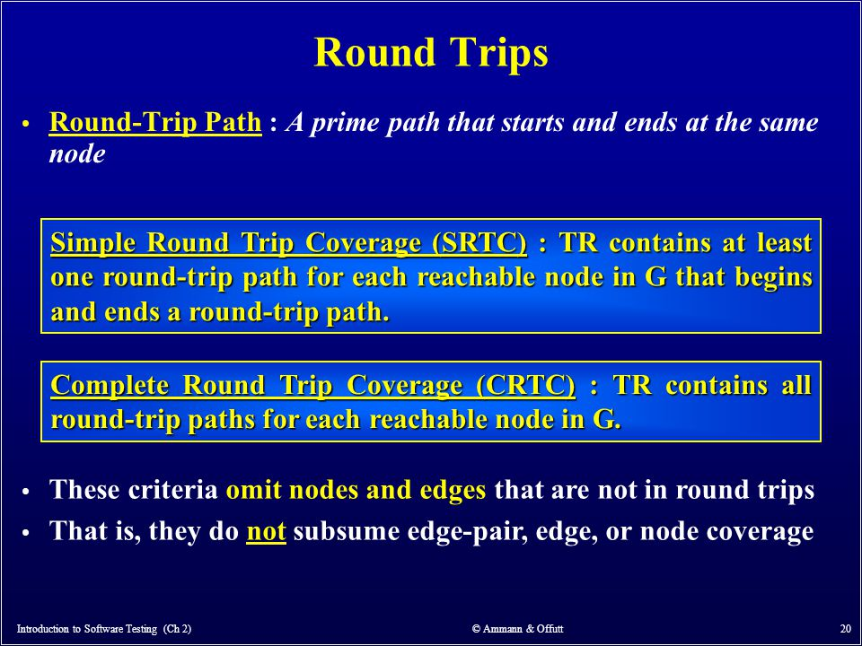 Introduction to Software Testing (Ch 2) © Ammann & Offutt 20 Round Trips Round-Trip Path : A prime path that starts and ends at the same node Simple R